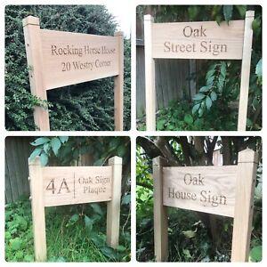 FREESTANDING MODERN OAK HOUSE SIGN DOOR NUMBER ADDRESS PLAQUE Small/Medium/large