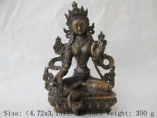 Chinese Tibet bronze Green Tara Kwan-yin Bodhisattva Buddha Statue