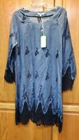 O Pi Boutique Blue Embroidered Long Sleeve Tunic Dress Size XL NWT