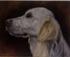 White Lab Dog Oil Painting Portrait realism style