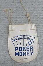 White Faux Leather Poker Money Drawstring Pouch Nisswa MN Minnesota FREE S/H