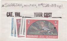 Sharjah mnh stamps mi#113-118 birds 1965