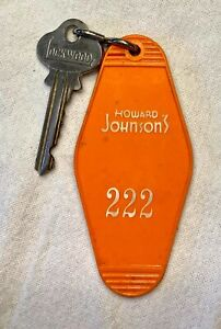 Vintage Howard Johnson's Motor Lodge hotel motel key and orange fob: Room 222