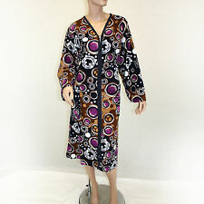 NWT Firat Circle Printed Zipped Velvet Cotton Plush Robe Pockets 4XL fits 2X