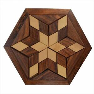 Hexagonal Wood Tangram Puzzle Game / Star Jigsaw puzzle Board Set with 30 Piece