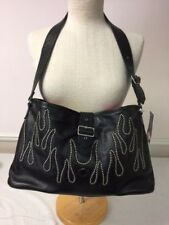 Harley-Davidson leather flame tote bag 17 x 9 x 3 Purse Special M/L size