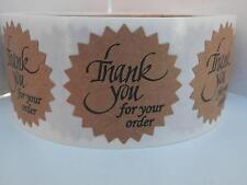 "Thank You For Your Order Sticker Label 1.5"" Starburst brown kraft bkgd 250/rl"