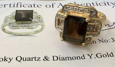 14K Yellow Gold Smoky Quartz & Diamonds Ladies Ring