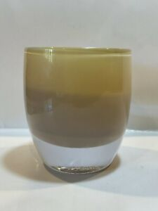 Glassybaby Friendship Blown Glass Yellow Brown Tan Votive Candle Holder Tag On