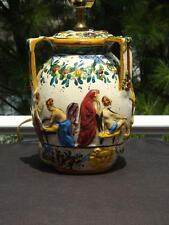 Vintage Capodimonte Majolica Handpainted Porcelain Lamp Ladies Floral Motif