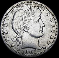 1901-O Barber Quarter US Silver ---- Stunning L@@K ----  #J371