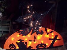 HALLOWEEN OUTDOOR LIGHTED TINSEL FLYING WICKED WITCH FIGURE BROOM TOMBSTONE PROP