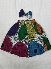 Girls African Ankara Skirt Wit Bow Headclip 2Pc Size12-18m Non Elastic Waist 16""