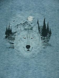 Stoff Panel 55 cm Hilco Baumwoll Sweat Wolf Camouflage Blau meliert Öko-Tex