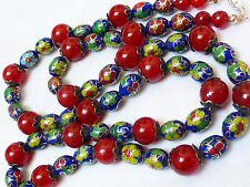 "CHINESE VINTAGE CARNELIAN CLOISONNE BEAD NECKLACE, 24"" LONG, SILVER CLASP"
