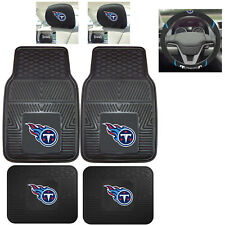 7pc NFL Tennessee Titans Heavy Duty Rubber Floor Mats & Steering Wheel Cover