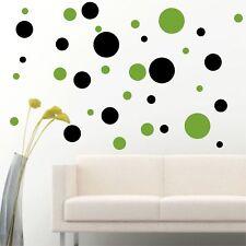 Set Of 56 Black / Light Green Polka Dots Circle Wall Decal Vinyl Sticker Wall DI