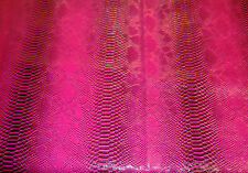 vinyl Snake Scale Viper Fake leather magenta black Embossed fabric by yard