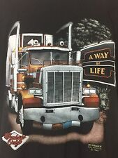 Vintage 3D Emblem Truckers Only A Way Of Life 1989 XL Harley Thin Biker T-Shirt