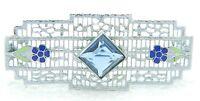 Antique Victorian Art Nouveau Style ST Enamel Blue Glass Floral Pin Brooch
