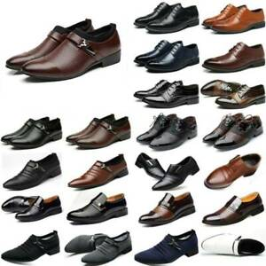 Men Retro Formal Business Shoes Wedding Slip On Leather Casual Pointed Toe Shoes
