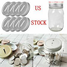 8x 70mm Stainless Steel Coin Slot Bank Lid Cap for Regular Mason Jar Case Bottle