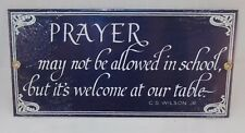 """NOS From 1996 Ande Rooney Prayer At Our Table Porcelain Sign 9 1/4"""" X 4 1/2"""""""