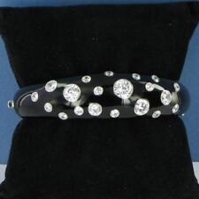Belle Etoile Glitter Bracelet Black Enamel Cubic Zirconia Bangle NWOT $495