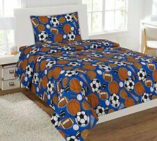 Full Size MK Collection 4pc Sheet Set Blue Baseball Basketball Football Soccer
