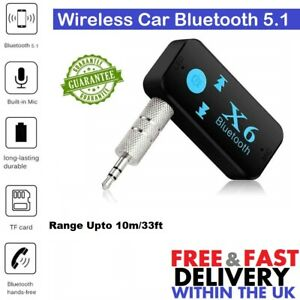 Wireless Car Bluetooth 5.1 Receiver Adapter 3.5mm Aux Audio Stereo With Mic UK