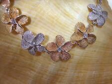 "15mm Hawaiian Rhodium TriColor 14kGP On 925 Silver Plumeria CZ Bracelet 7.5-8"""