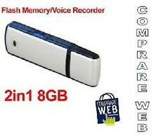 REGISTRATORE VOCALE AUDIO 8GB SPIA CIMICE SPY PENDRIVE VOICE RECORDER PEN DRIVE