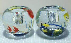 2 Vintage Murano Aquarium 3 Fish Glass Candle Holders Candlesticks Paperweights