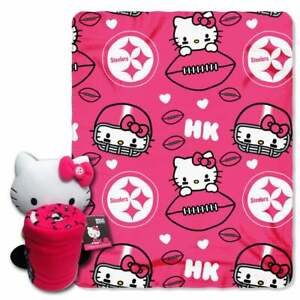 Pittsburgh Steelers NFL Hello Kitty Character And Throw Set - New With Tags