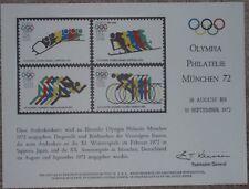 USPS Souvenir Card~Olympia Philatelie Munchen 72~XX Olympic Summer Games: Munich