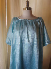 Custom Made Shimmery Aqua Blue PLUS SZ CAFTAN DRESS 62 Bust Casual Maxi Lounger