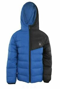 Spyder Boy's Youth Ace Short Puffer Hooded Jacket, Large (14-16), Old Glory