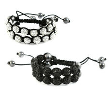 Double Row Shamballa Bracelet, hematite beads, adjustable macrame, new colors