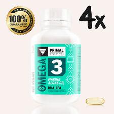 4x Bottles Premium Vegan Omega 3 Marine Algae Oil Softgels. High Dose DHA-EPA