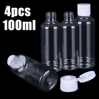 4pcs 100ml PLastic Clear Flip Bottles Travel Shampoo Lotion Cosmetic Container