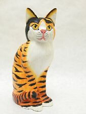 """Wooden Cat Hand Carved&Painted Wood Home Decor Sculpture Statue 11"""" #N1815"""