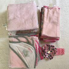 Hooded Infant Bath Towel Lot Burp Cloths Blankets + Swaddles + Towels + Headband