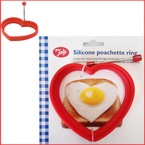 Egg Poacher Silicone Ring Mould Pancake Mold Omelette Kitchen HEART Poached Pod