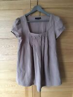 NEXT Ladies Square Neck Mink Brown Button Embellish Collarless Pleated Top UK10