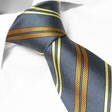 Cravate LUXE de Marque Française 100 % SOIE Grise à Rayures - Cadeau ST VALENTIN