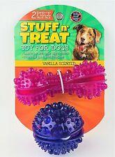 Stuff n Treat Dog Toy Vanilla Scented Dental Hygiene 2 pc Set Pink/ Purple