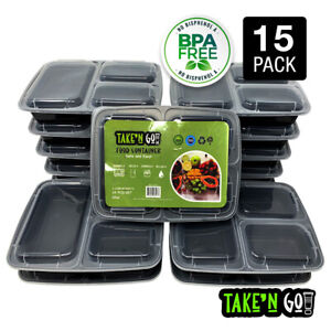MEAL PREP Food Container with Lids. Microwavable. 3 Compartments 15,21 Pack