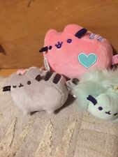 """Gund Pusheen Plush Winking  Cat Backpack Clip * 4"""" And 2more lot Of 3"""