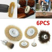6pc Heavy Duty Drill Wire Wheel Cup Flat Brush Metal Cleaning Rust Sanding Set