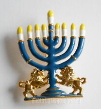 Hanukkah / Menorah Pin / Gold-tone / Candelabrum w Lions /  Painted Candles